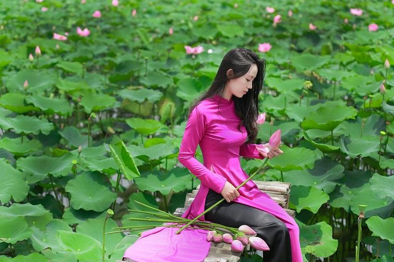 Dịu dàng chụp những bộ ảnh áo dài tại hồ sen Tam Đa