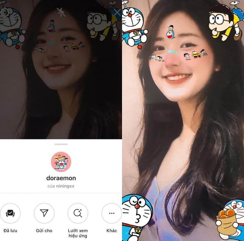 Filter Doraemon được nhiều bạn trẻ ưa thích