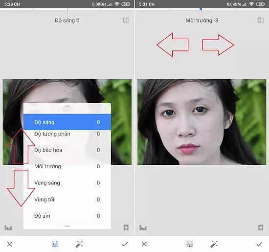 Chỉnh sửa các option bằng cách kéo sang trái hoặc phải để giảm hoặc tăng độ sáng, tương phản, môi trường,....cho bức ảnh