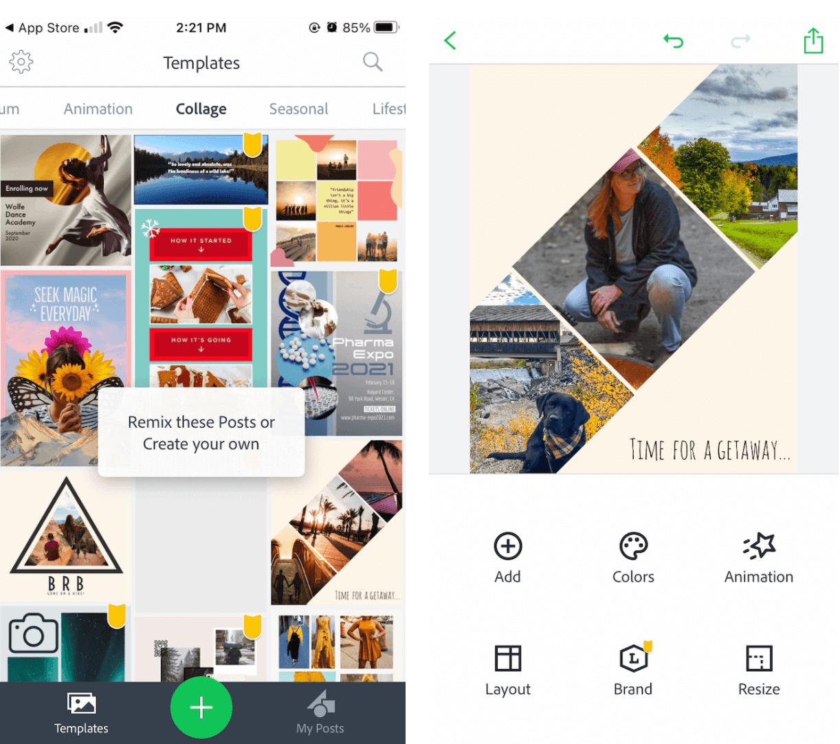 Giao diện ứng dụng ghép ảnh Adobe Spark Post