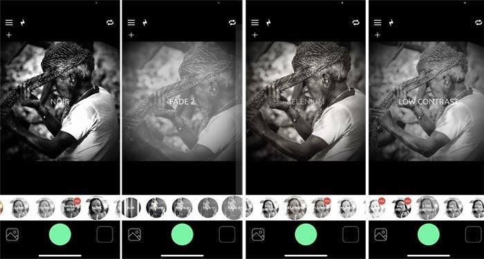 Giao diện ứng dụng BlackCam hiển thị bốn trong số các bộ lọc: Noir, Fade 2, Selenium và Low Contrast