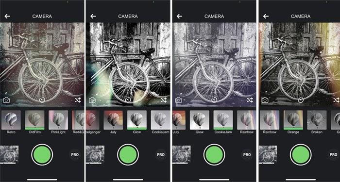 Giao diện máy ảnh đen trắng hiển thị bốn bộ lọc