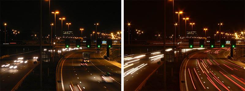 Sự khác biệt của ảnh giữa bên trái là ảnh chụp bình thường, còn bên phải là ảnh chụp với tốc độ màn trập chậm hơn