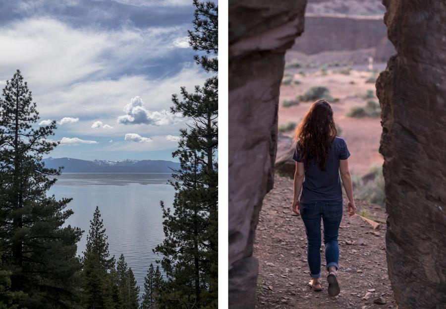 Trong hình ảnh bên trái, cây cối làm khung cho nước, núi và mây. Trong hình ảnh bên phải, những tảng đá tạo khung ảnh cho người phụ nữ