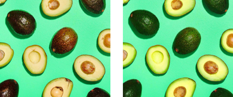Ảnh bên trái là ảnh trước khi chỉnh sửa, bạn sẽ nhận thấy các màu nổi bật trên quả bơ. Và bên phải là sau khi đã chỉnh sửa