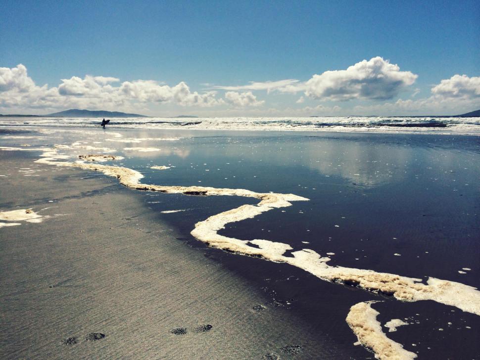 Trong bức ảnh này, dòng bọt dẫn theo đường chéo từ tiền cảnh về phía người lướt sóng ở phía xa